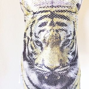 FOREVER 21 SEQUINED TIGER TANK TOP SZ SM